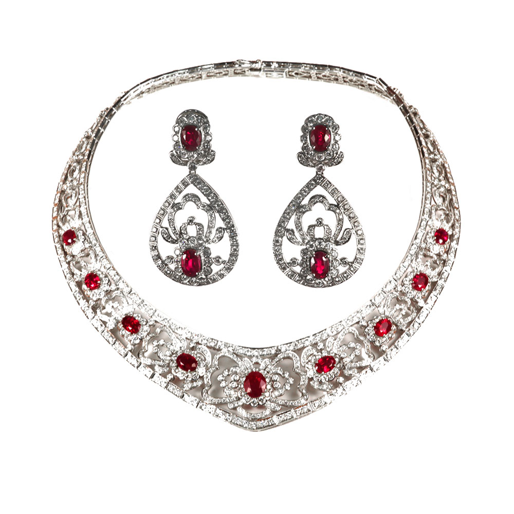 Ruby and Diamond Necklace and Earrings Set - House of Kahn Estate ... 3681e344e