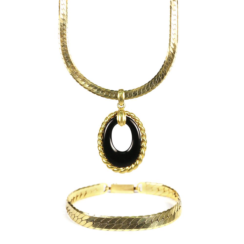 Black Onyx Necklace and Bracelet Set