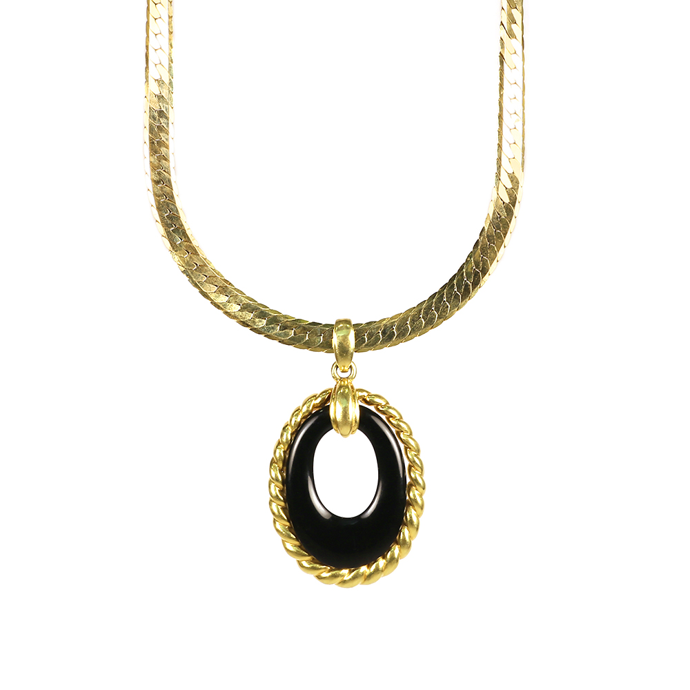 Black onyx necklace and bracelet set house of kahn estate jewelers black onyx necklace and bracelet set jewelry suites aloadofball Image collections
