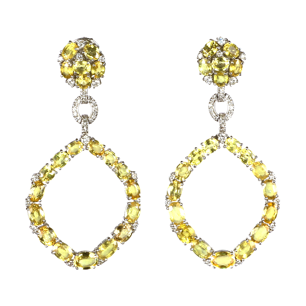 arpels diamond id clip on jewelry signed pair vca and sapphire van cleef j at white earrings of a yellow
