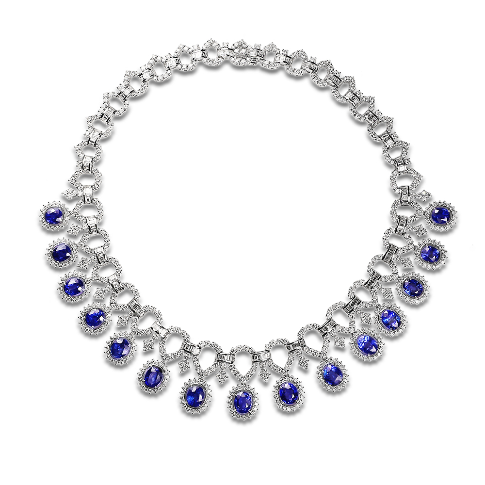 precious color sapphire blue products inc gr necklace