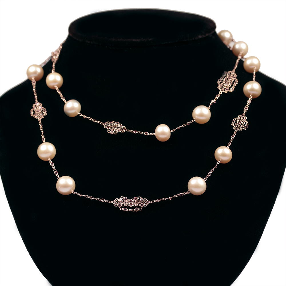 pearl swarovski leaf fullxfull necklace listing bridal nz gold wedding necklet il vine zoom