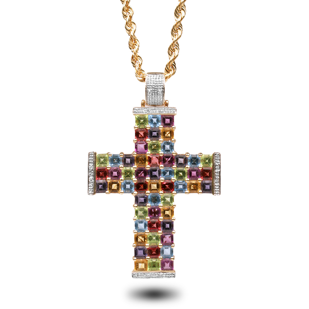 Colorful cross pendant necklace house of kahn estate jewelers colorful cross pendant necklace necklaces aloadofball Choice Image