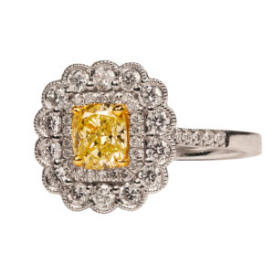 Cusion cut yellow diamond