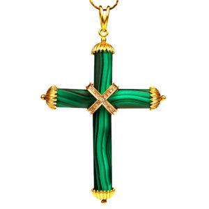 Malachite cross Necklace