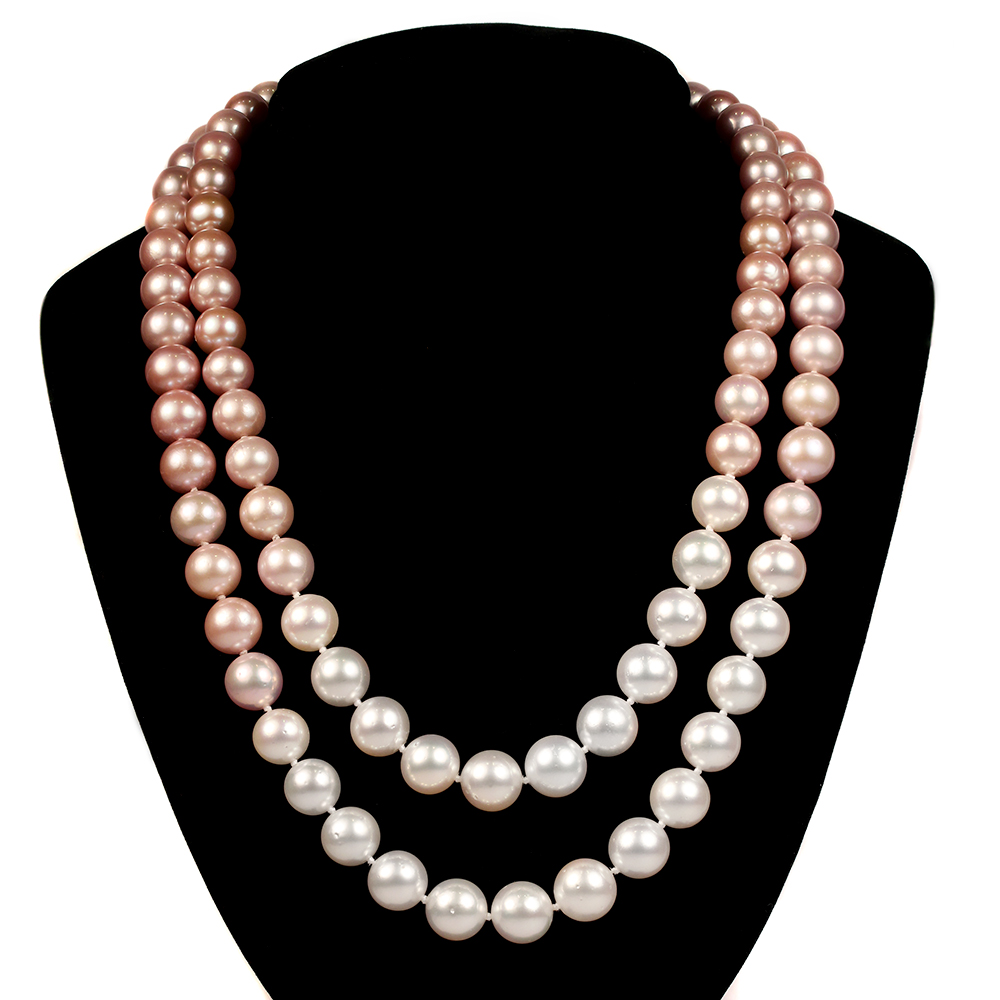 e5728e185 Double Strand Pink Freshwater Pearls with White South Sea Pearls Necklaces