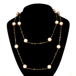 Teac Cup necklace with Freshwater pearls