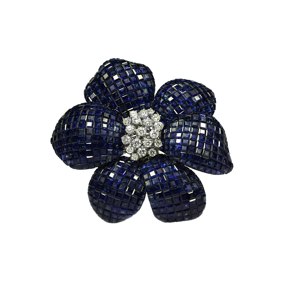 a blue vintage upon diamond once sapphire with sapphires circle products brooch