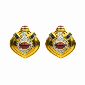 sapphire, ruby and diamond earrings