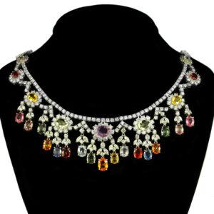 multi-color sapphire and diamond necklace