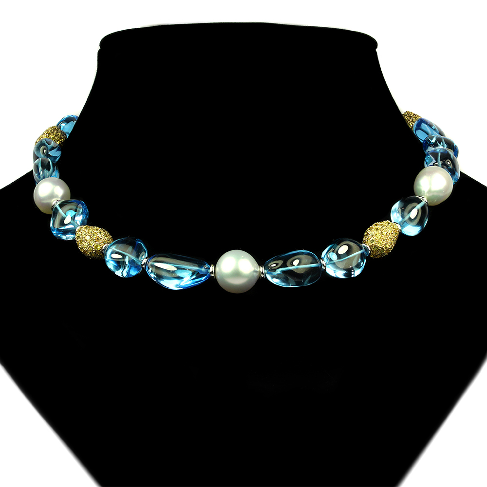 Blue Topaz And Pearl Necklace: Blue Topaz And South Sea Pearl Necklace