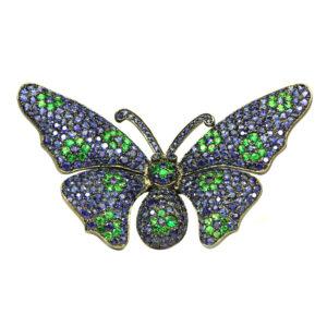 Sapphire and Tsavorite butterfly brooch