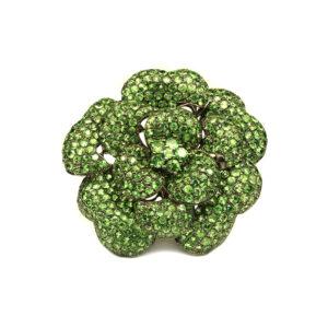 green tsavorite brooch