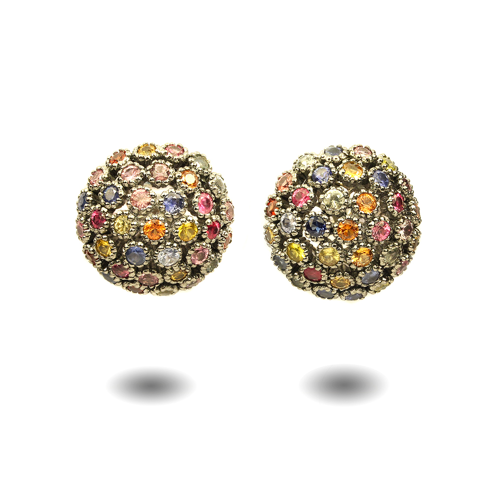 sterling birthstone stud flower silver jewelry earrings multicolor bling cubic q multi cz color zirconia yly