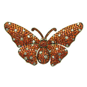 orange and white sapphire butterfly brooch