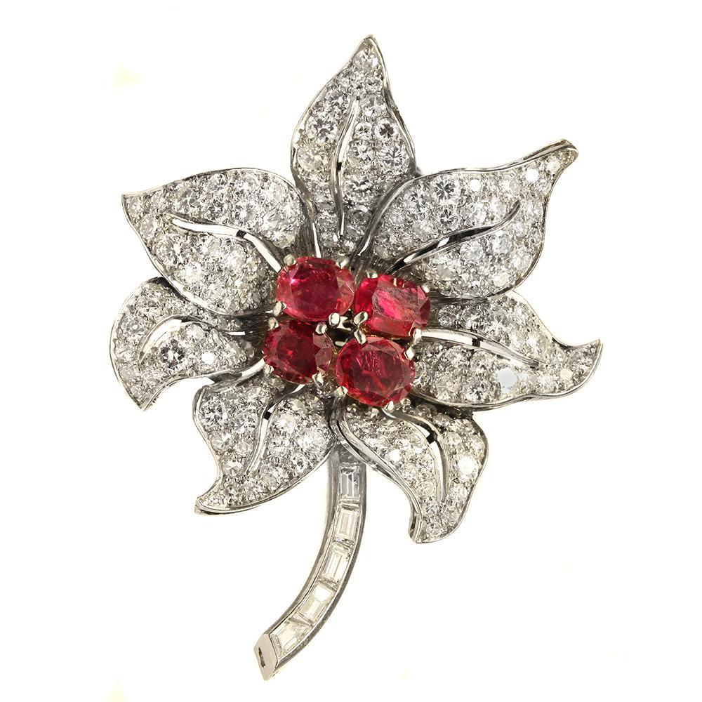 15251dd916fcb Diamond and Flower Brooch Brooches