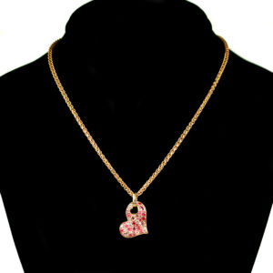 pink and gold heart necklace 2